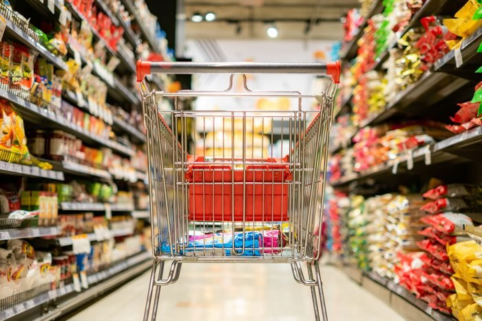 Close-Up Of Shopping Cart In Supermarket
