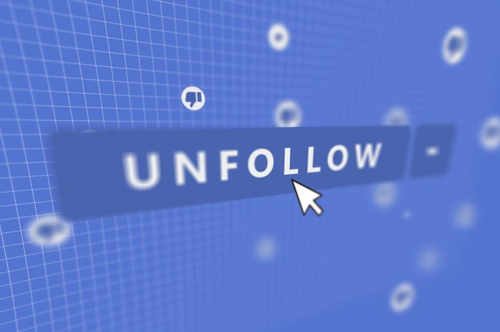 Social Media Unfollow Button with Mouse Pointer and thumbs down icons