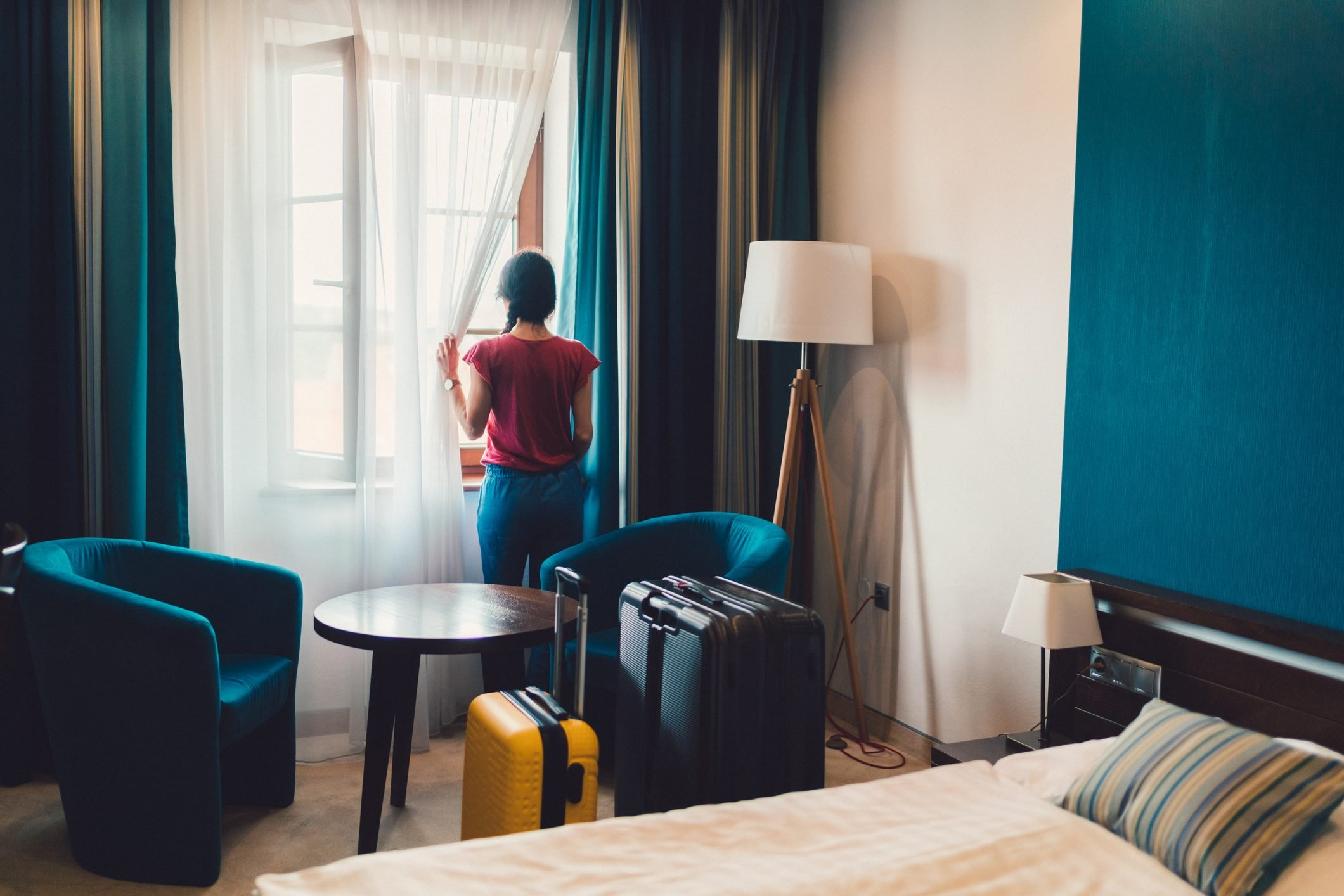 Tourist woman in luxury hotel