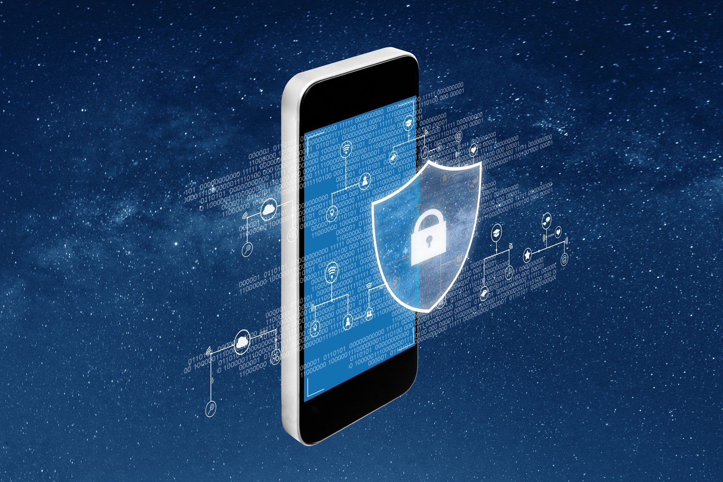 concept illustration of encrypted data across the screen of a smartphone with a shield and lock symbol