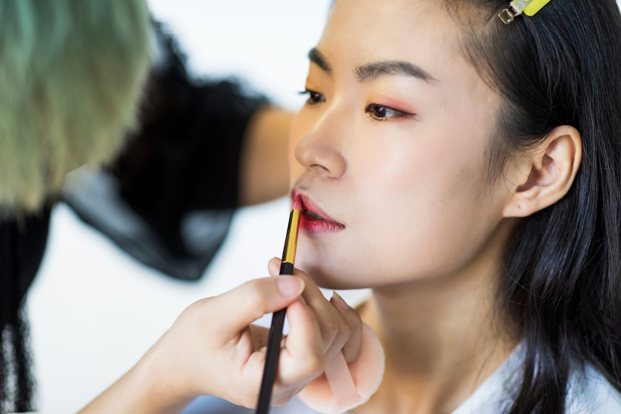 Professional make up artist working