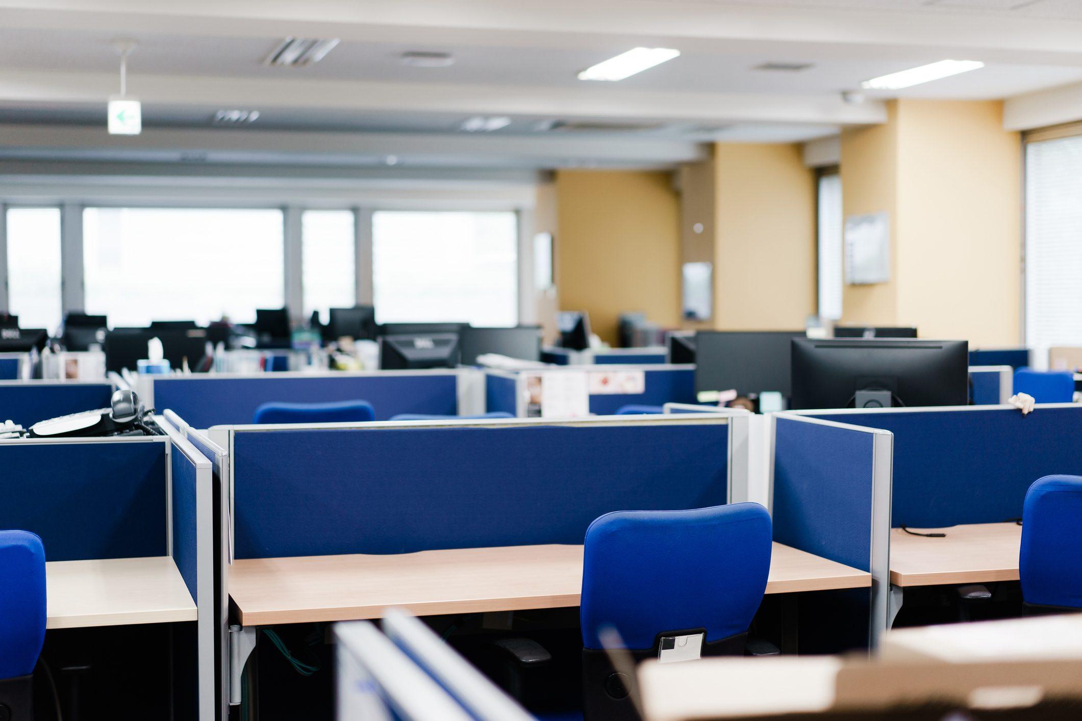 Empty desk in an unattended office
