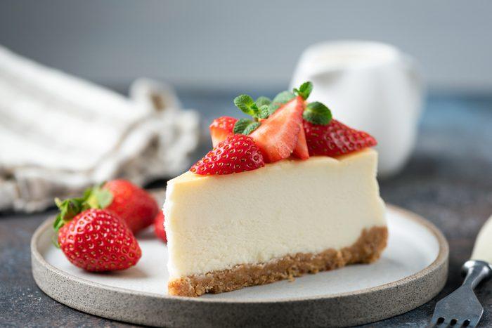 Slice of strawberry cheesecake