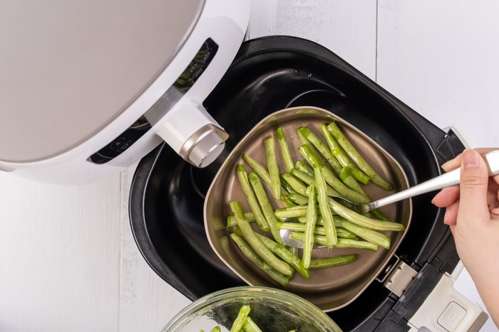 Air fryer meal, cooking green bean, pidan dishes cookery with Airfryer at home, delicious cuisine in Taiwan, Asia, Asian Taiwanese food.