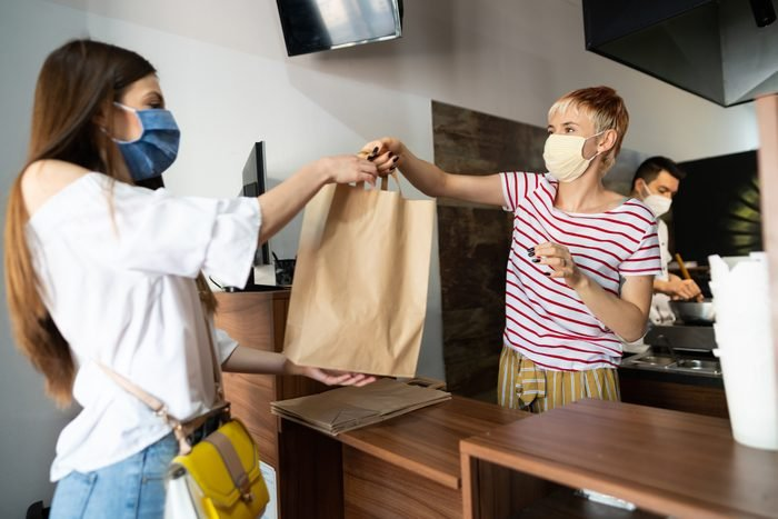 Picking up food from a restaurant during coronavirus pandemic