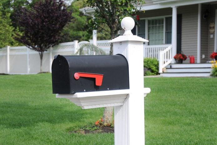 Closed Suburban Residential Mailbox Lush Green Lawn