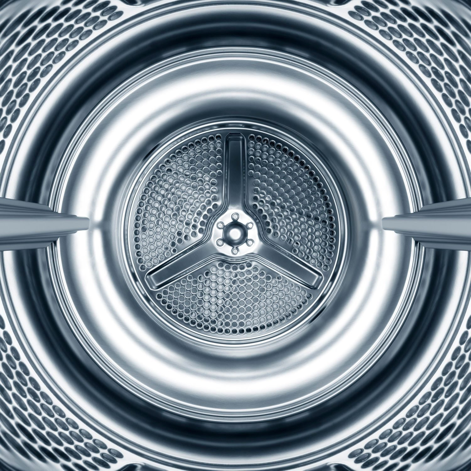Inside the steel drum of a washing machine
