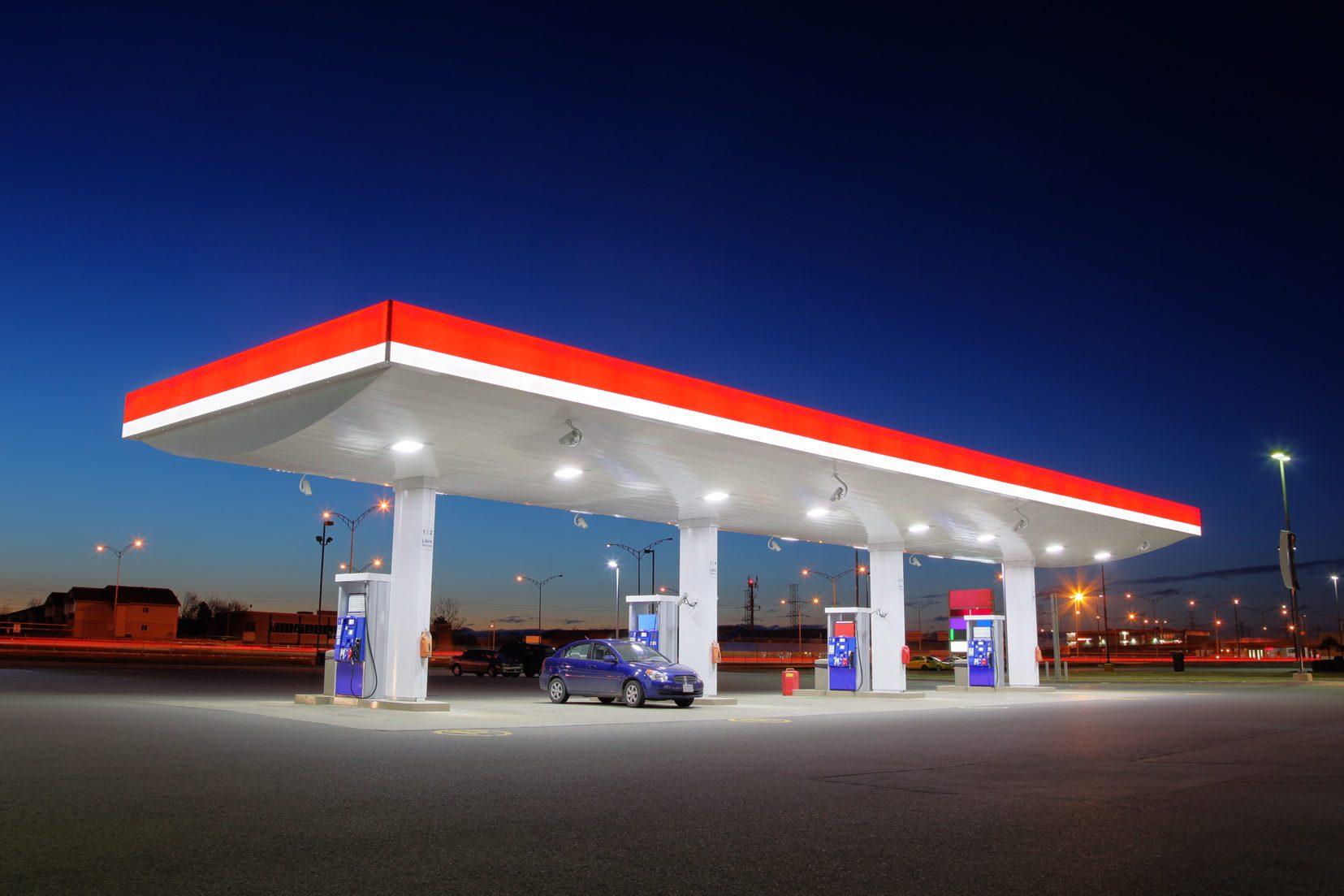 Gas Station Exterior Night Lights