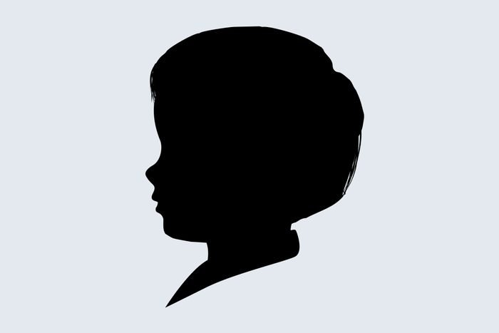 silhouette of a childs head to represent August Brooksbank on blue-gray background