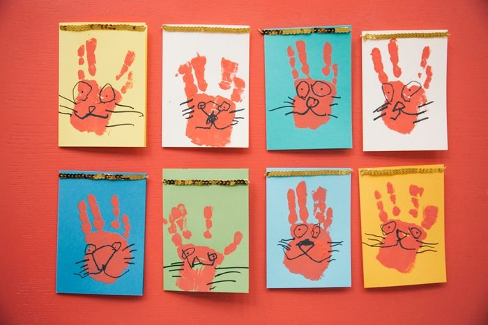Self-made Easter bunny cards with handprints