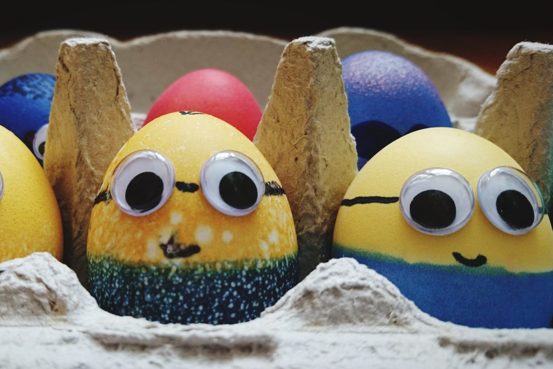 Close Up Of Easter Eggs painted to look like Minions