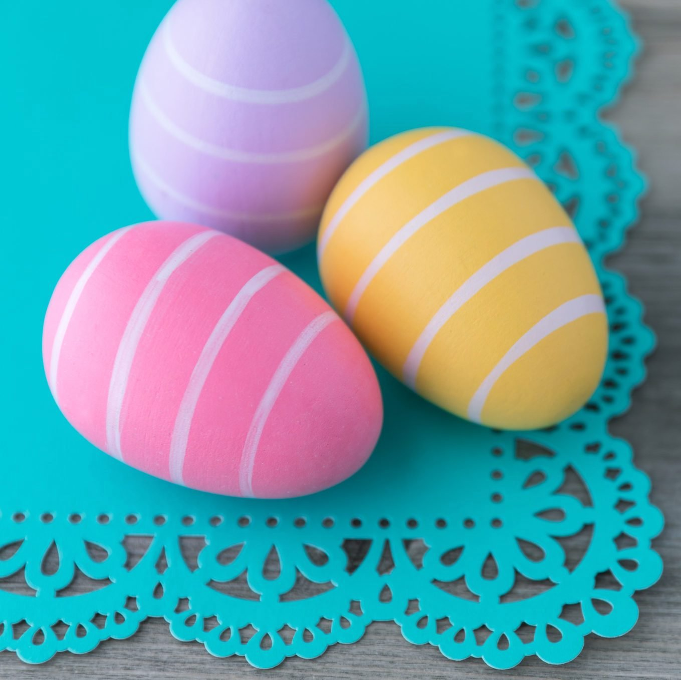 Colorful striped Easter eggs