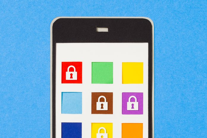 A phone screen with a variety of apps, some showing lock icons to symbolize locked apps