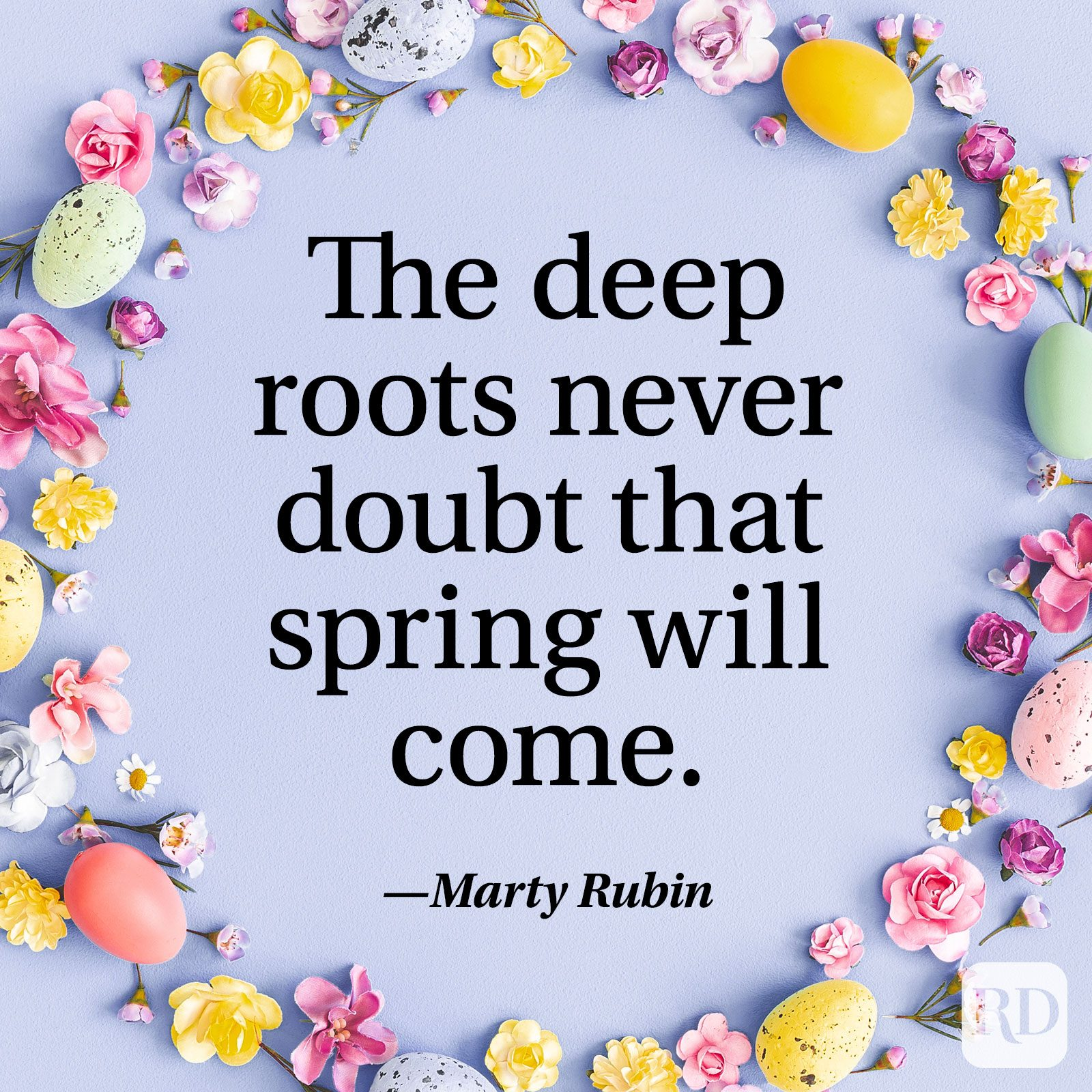 """The deep roots never doubt that spring will come."" — Marty Rubin"