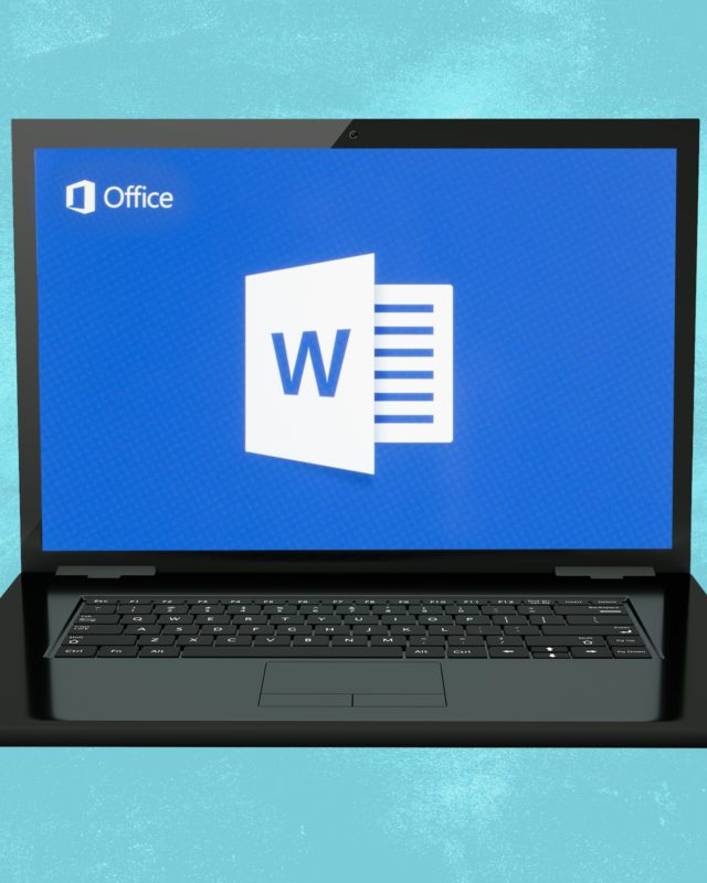 Windows computer showing Microsoft Word logo to represent keyboard shortcuts on microsoft word