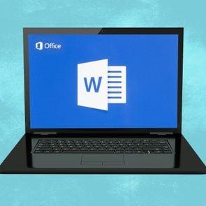 Windows computer showing Microsoft Word logo to represent keyboard shortcuts on microsoft word