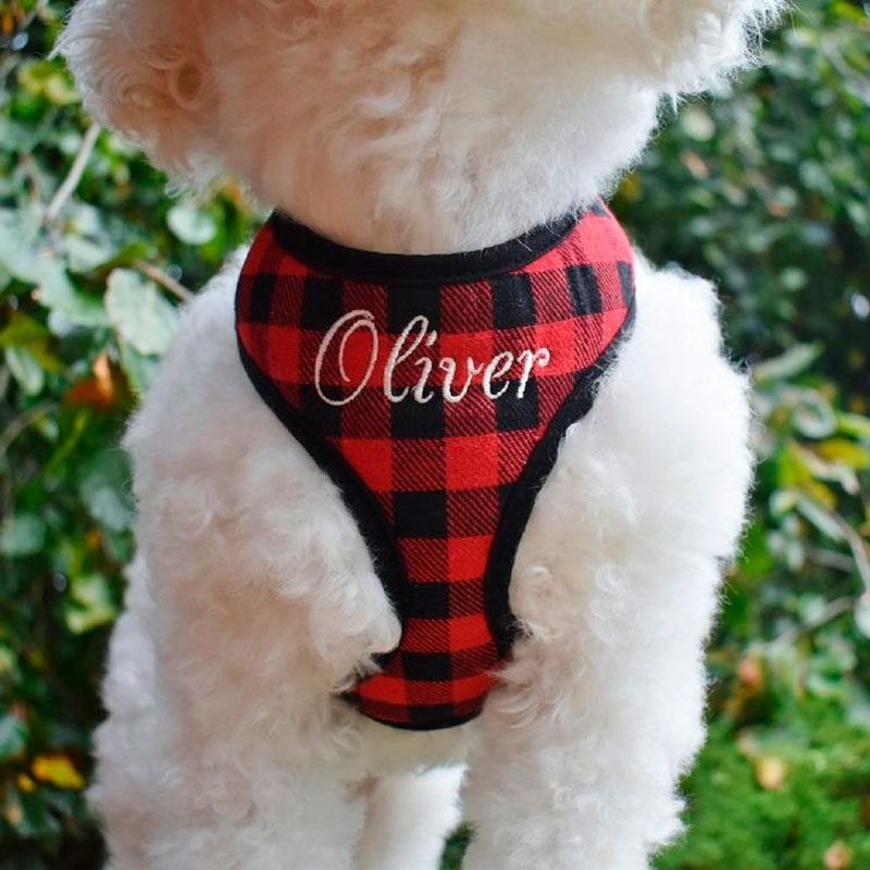 Personalized Red Buffalo Plaid Padded Soft Dog Harness