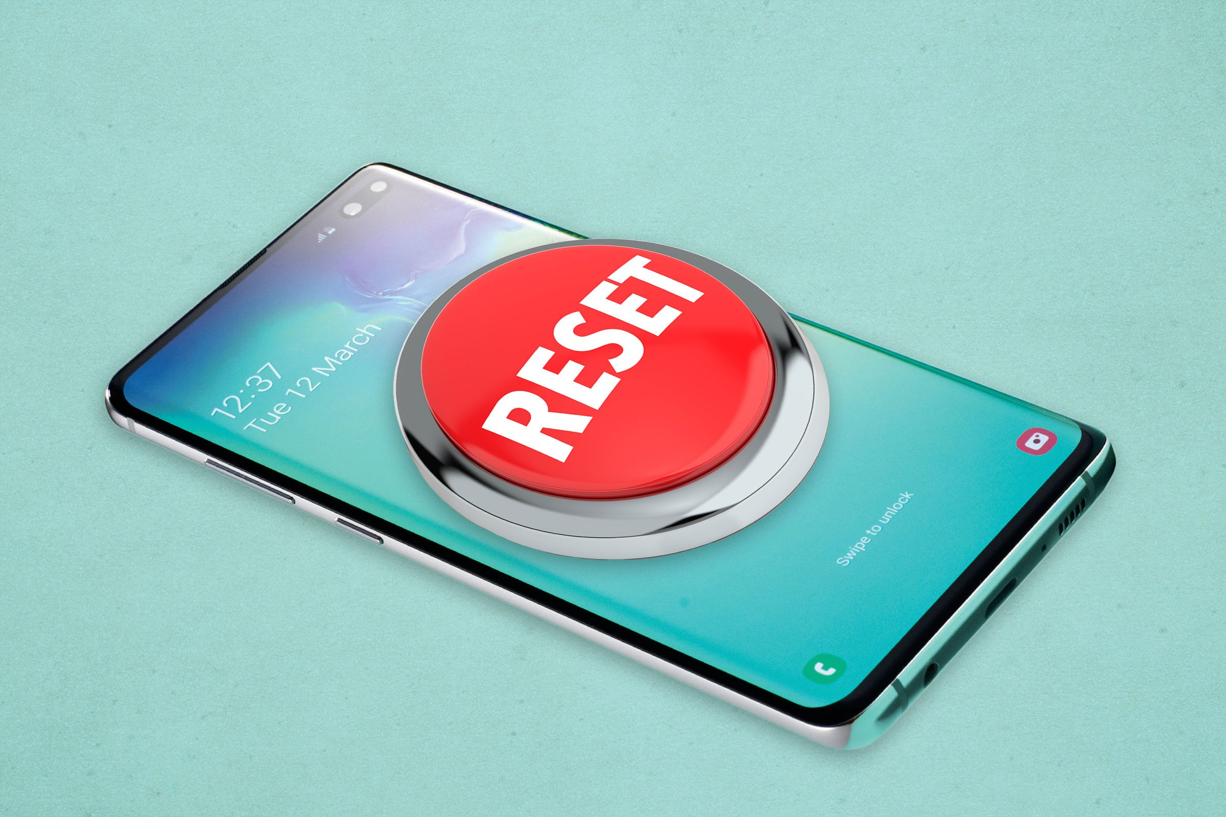 Reset button on top of android phone to symbolize factory reset