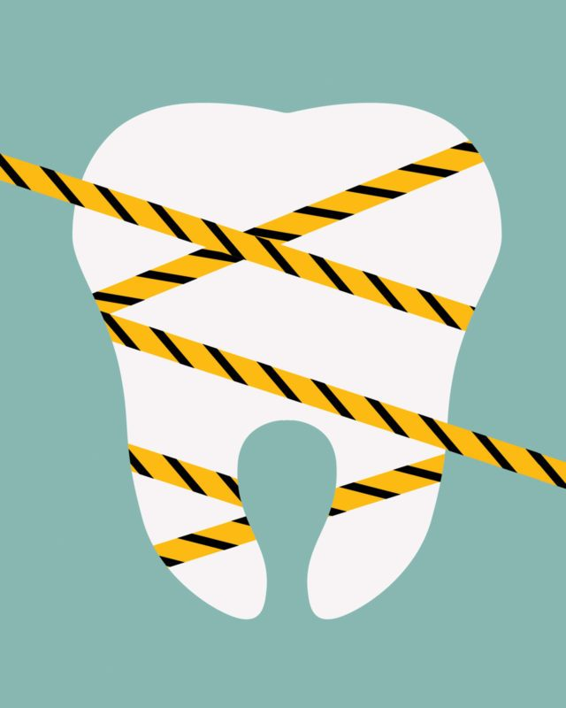 illustrated tooth wrapped with caution tape