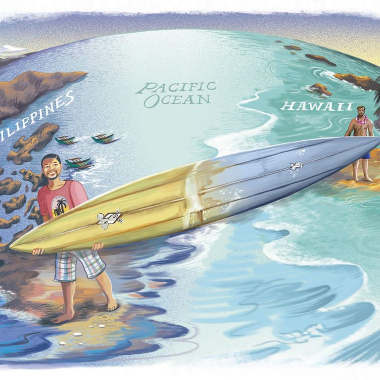 illustration of two surfers holding one surfboard that spans from the Philippines to Hawaii