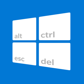 Windows 10 Logo with keyboard keys on the four tiles
