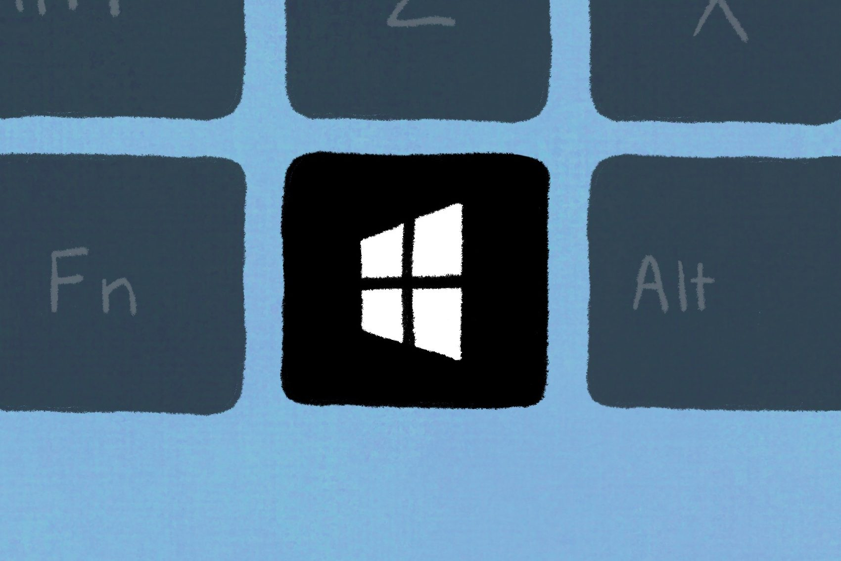 Windows keyboard with the windows key illuminated to represent keyboard shortcuts