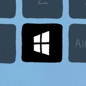 Windows keyboard with the windows key illuminated to represent keyboard shortcuts