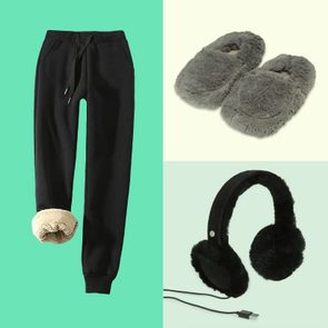 Fleece-lined pants, furry headphones, and soft slippers
