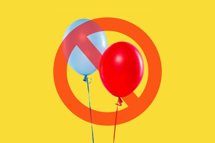 Balloons on yellow background with cancel sign