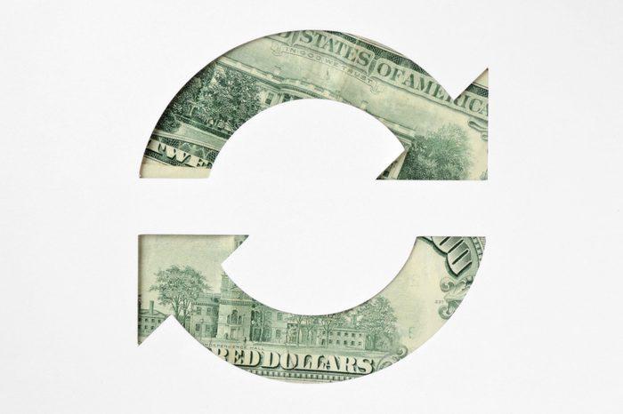 Circle arrows made of dollar banknotes - Money circulation concept