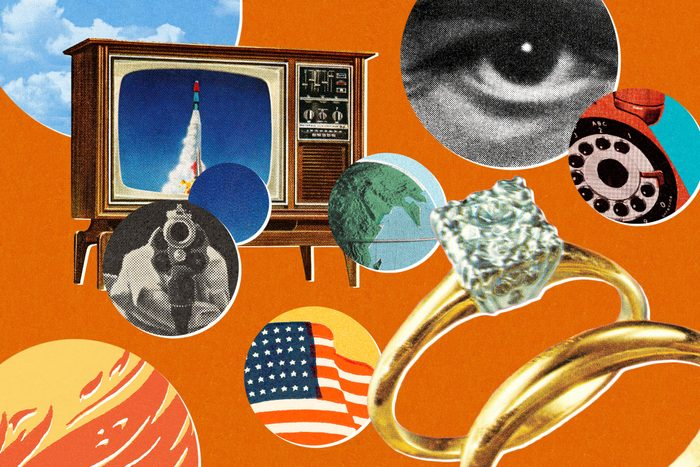 Old-fashioned television with imagery of engagement rings, American flag, gun, fire, earth, a serious-looking male eye, and a telephone.