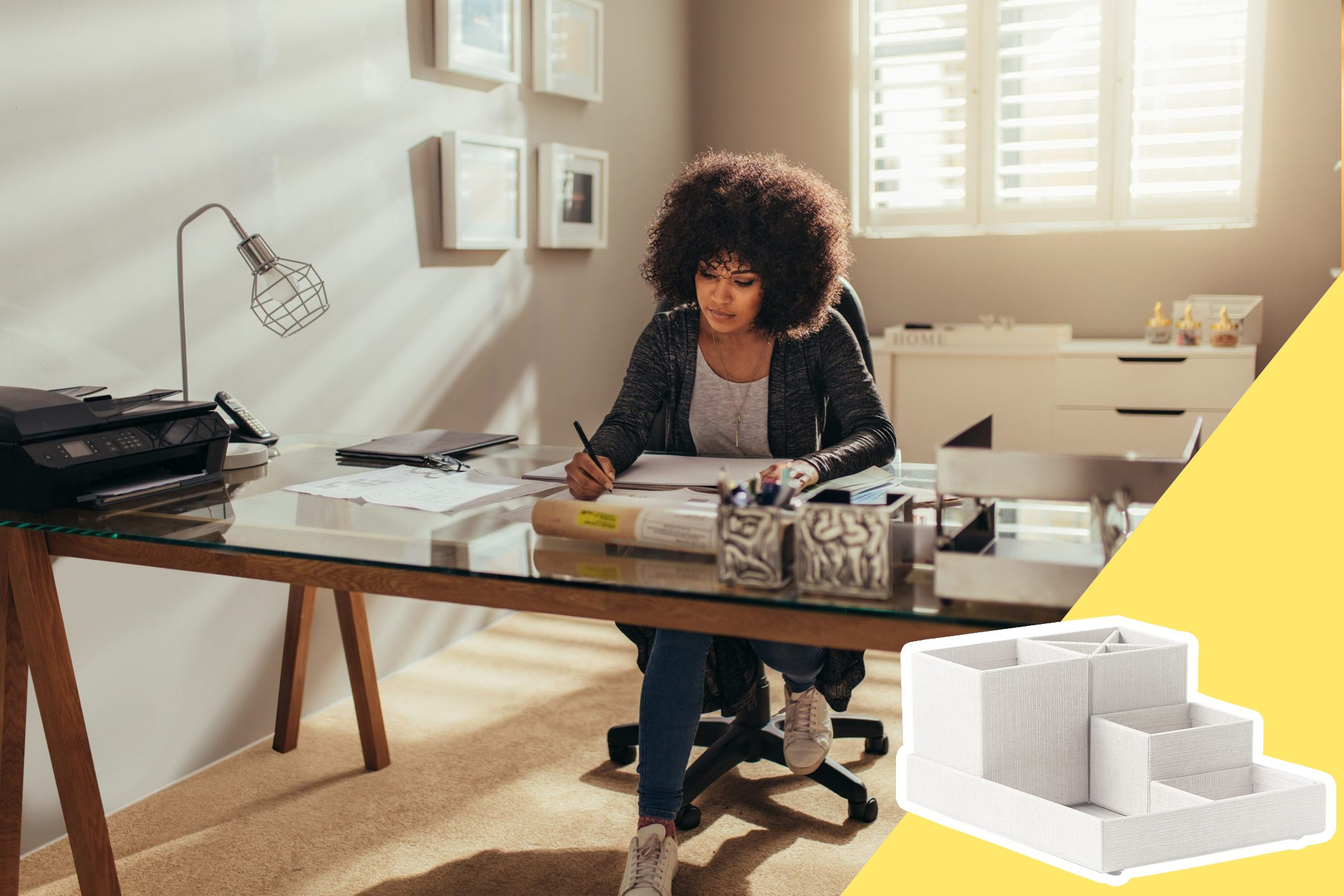 woman at desk with desk organizers