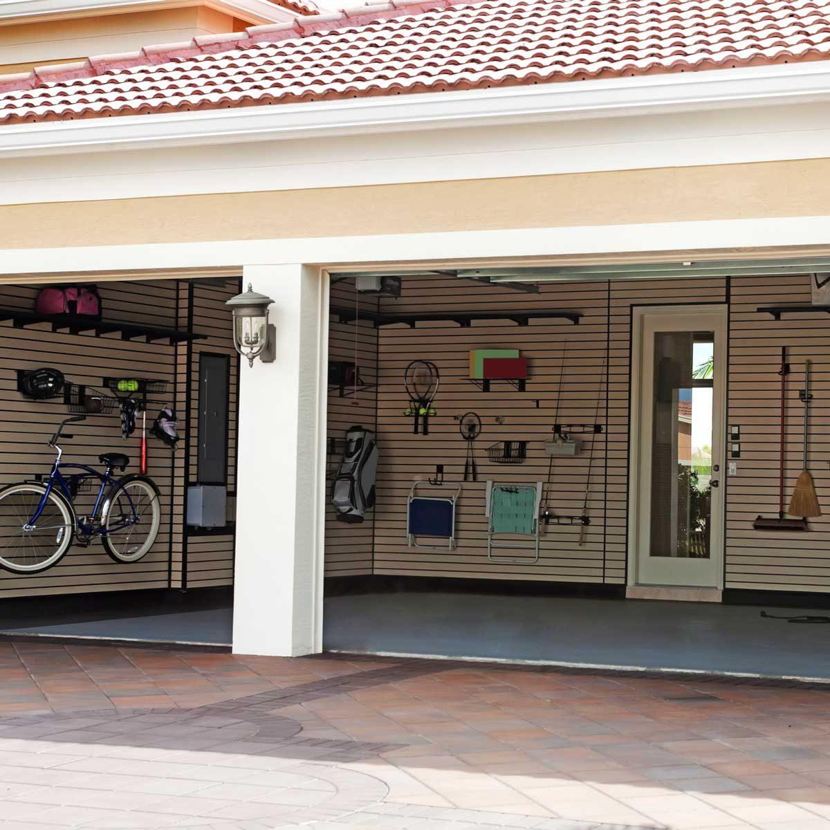 Garage with storage zones
