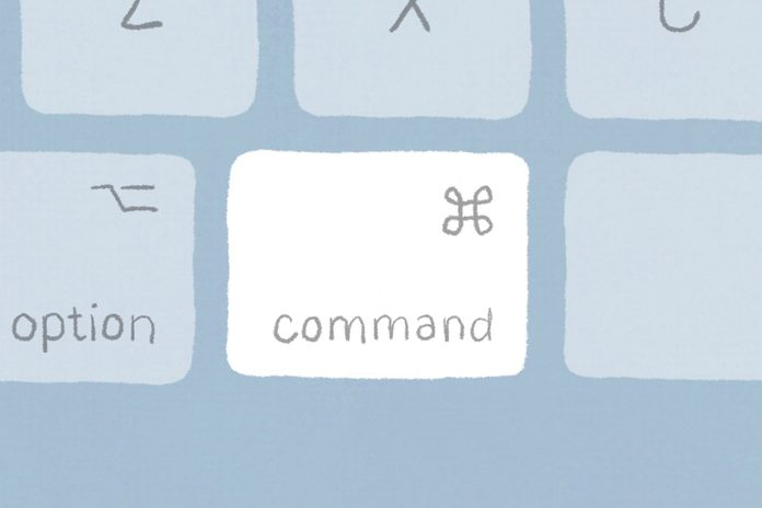 A mac keyboard illustration with the command key highlighted