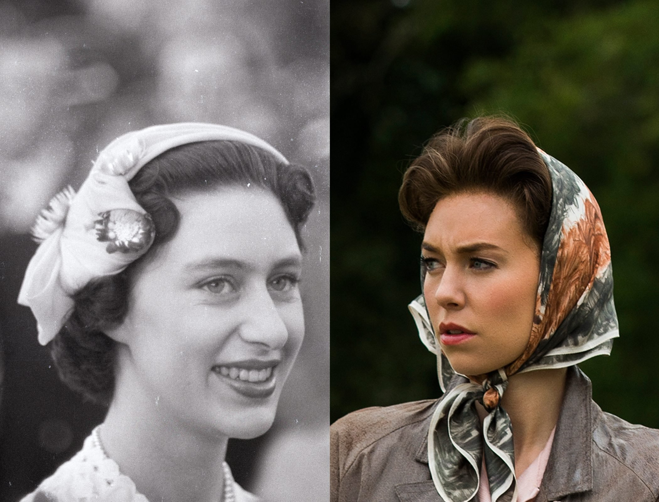 Princess Margaret Rose of York as a young woman, as played by Vanessa Kirby
