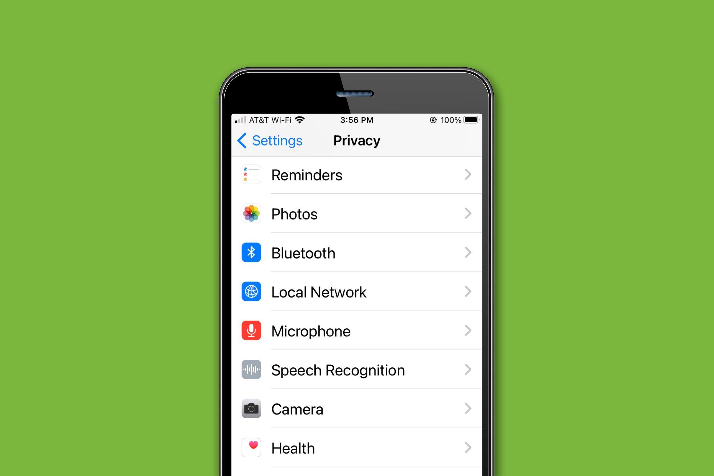 iPhone privacy settings menu