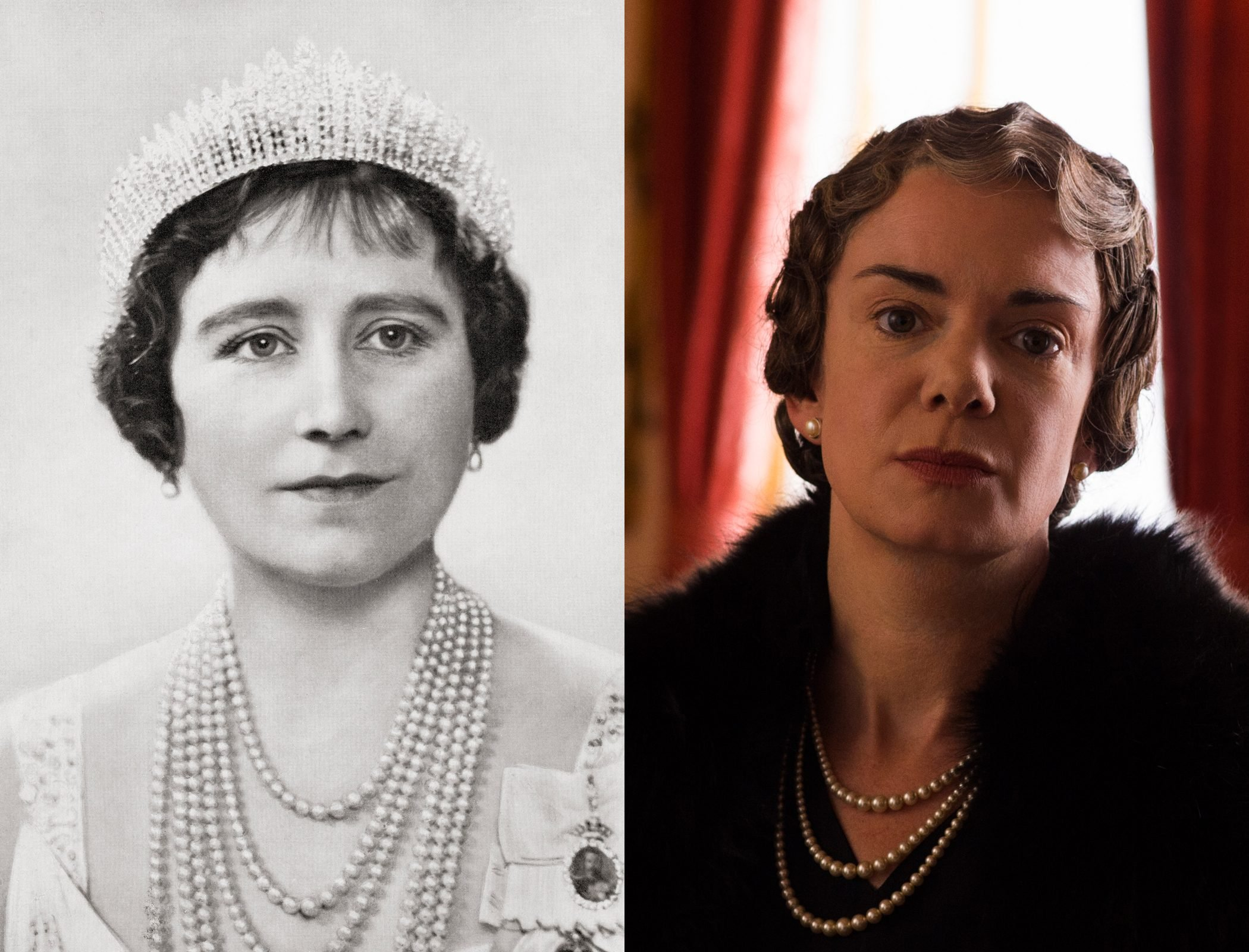 The Queen Consort, Queen Elizabeth, and later, the Queen Mother, as played by Victoria Hamilton