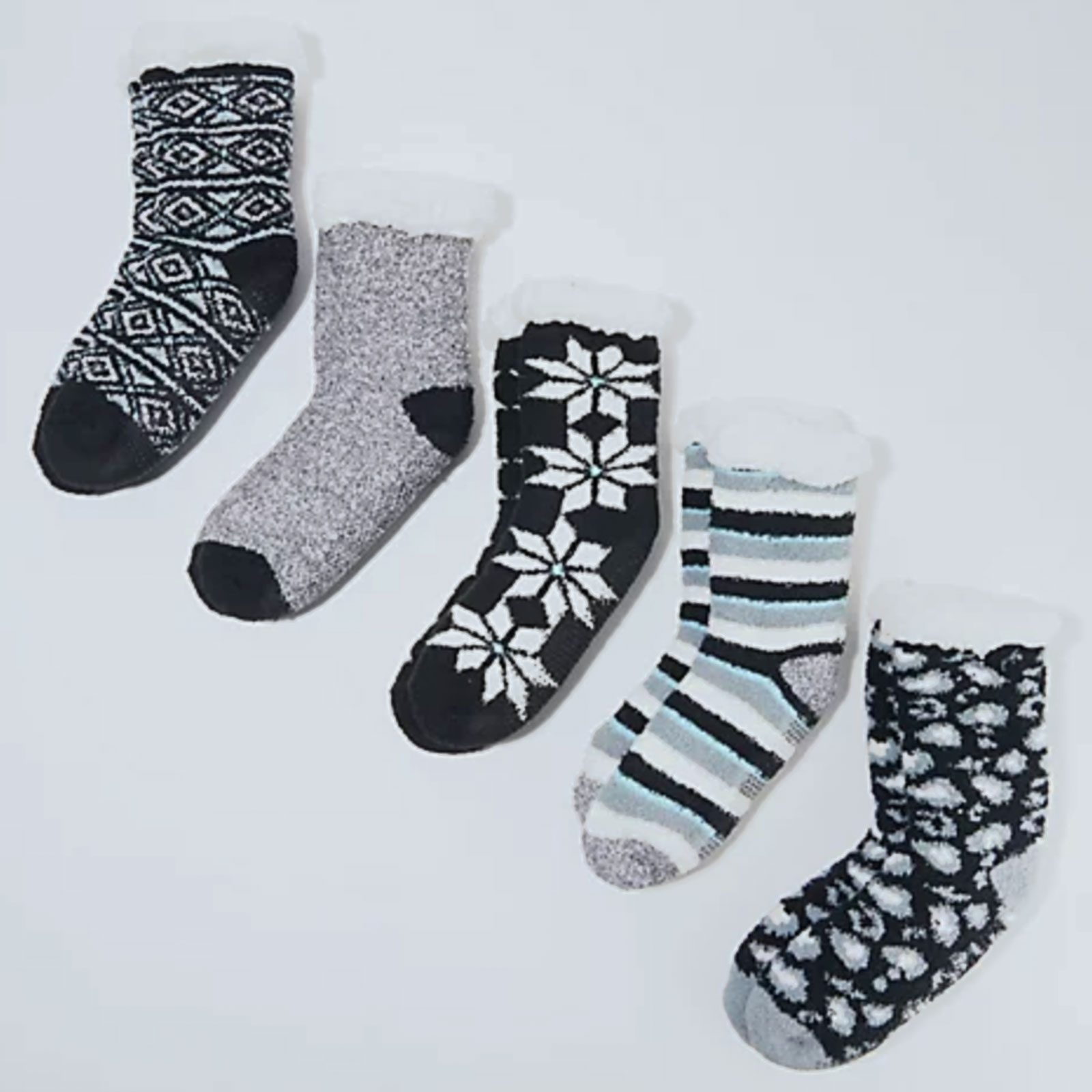 Cuddl Duds Faux Sherpa Lined Socks (5-Pack)