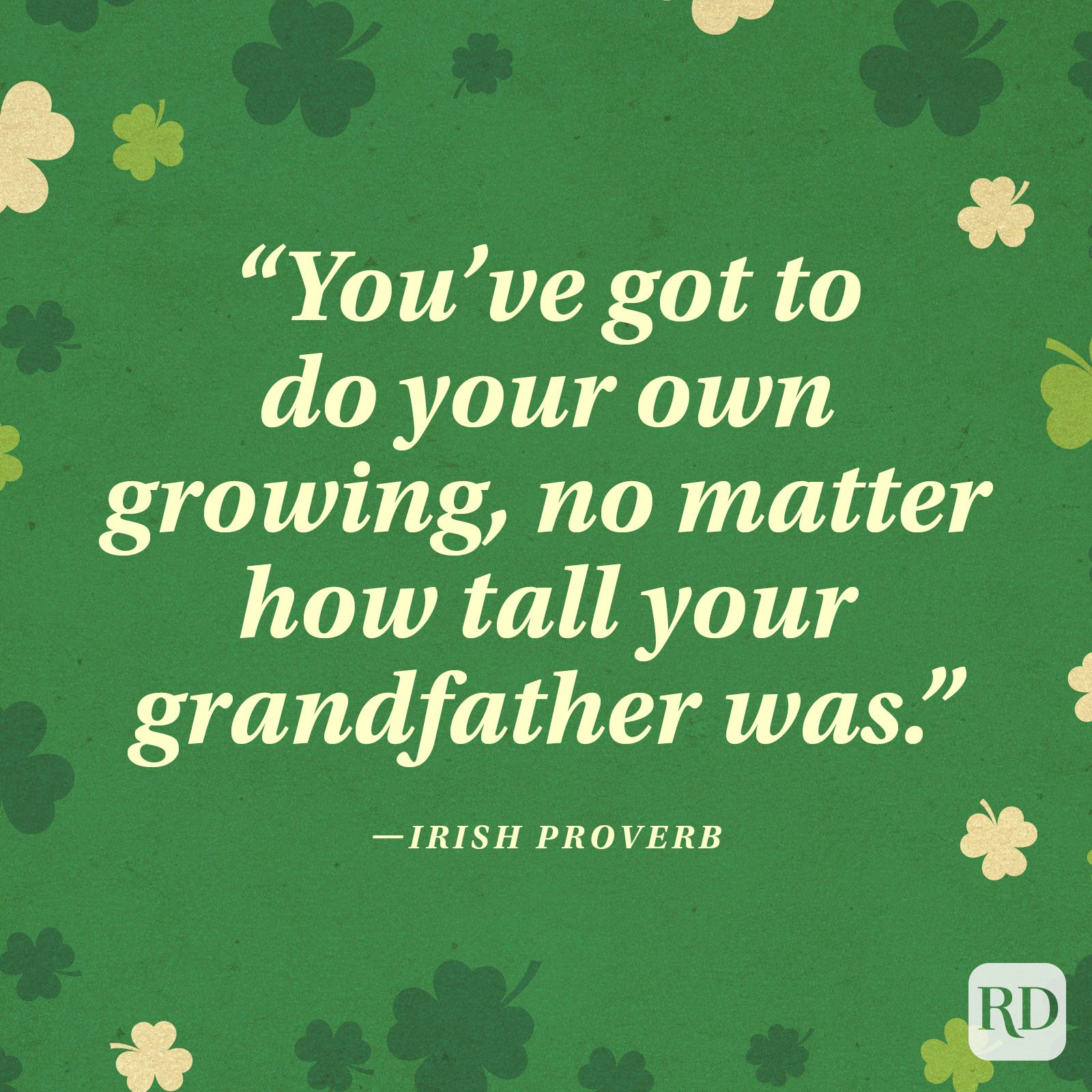 """You've got to do your own growing, no matter how tall your grandfather was."" —Irish proverb"