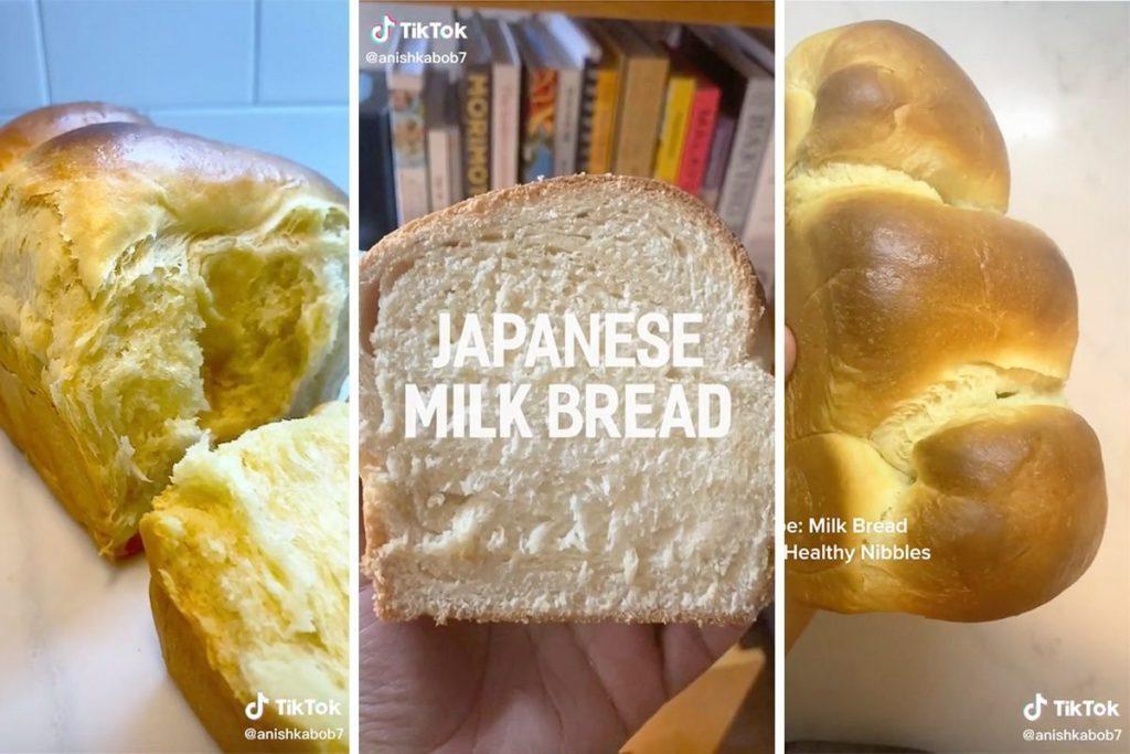 screenshots from TikTok showing japanese milk bread