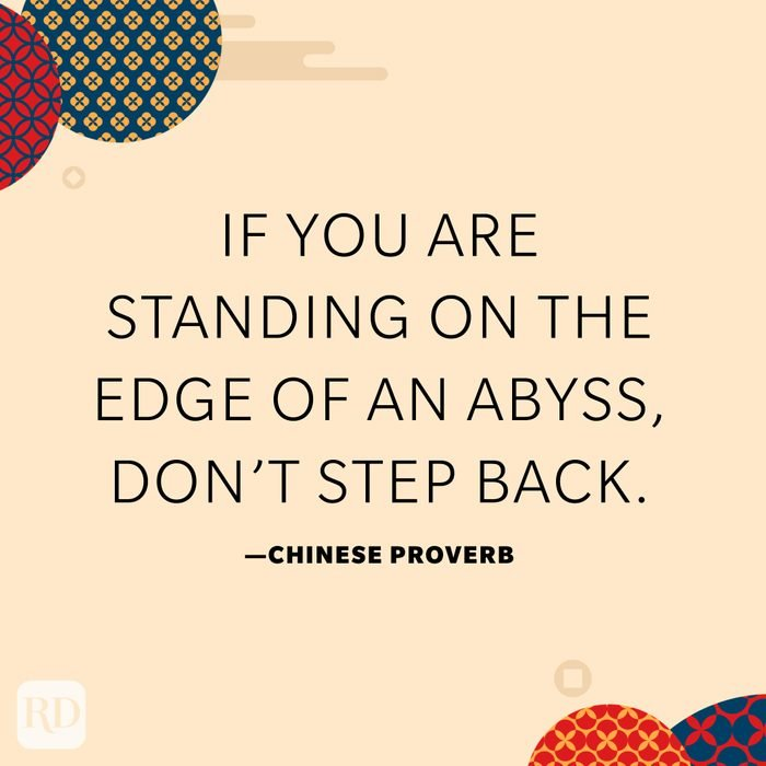 If you are standing on the edge of an abyss, don't step back.