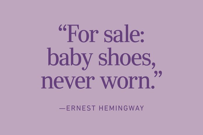 "6 Word Memoir: ""For sale: baby shoes, never worn."" by Ernest Hemingway"