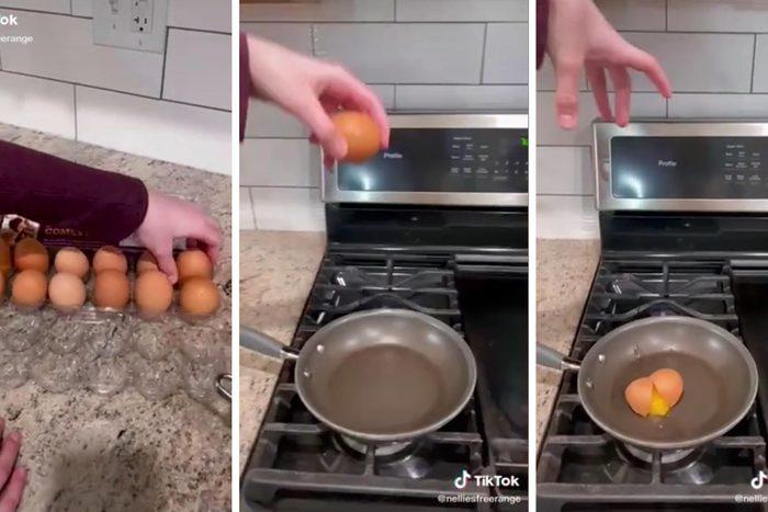 Egg Cracking Hack from @nelliesfreerange on tiktok
