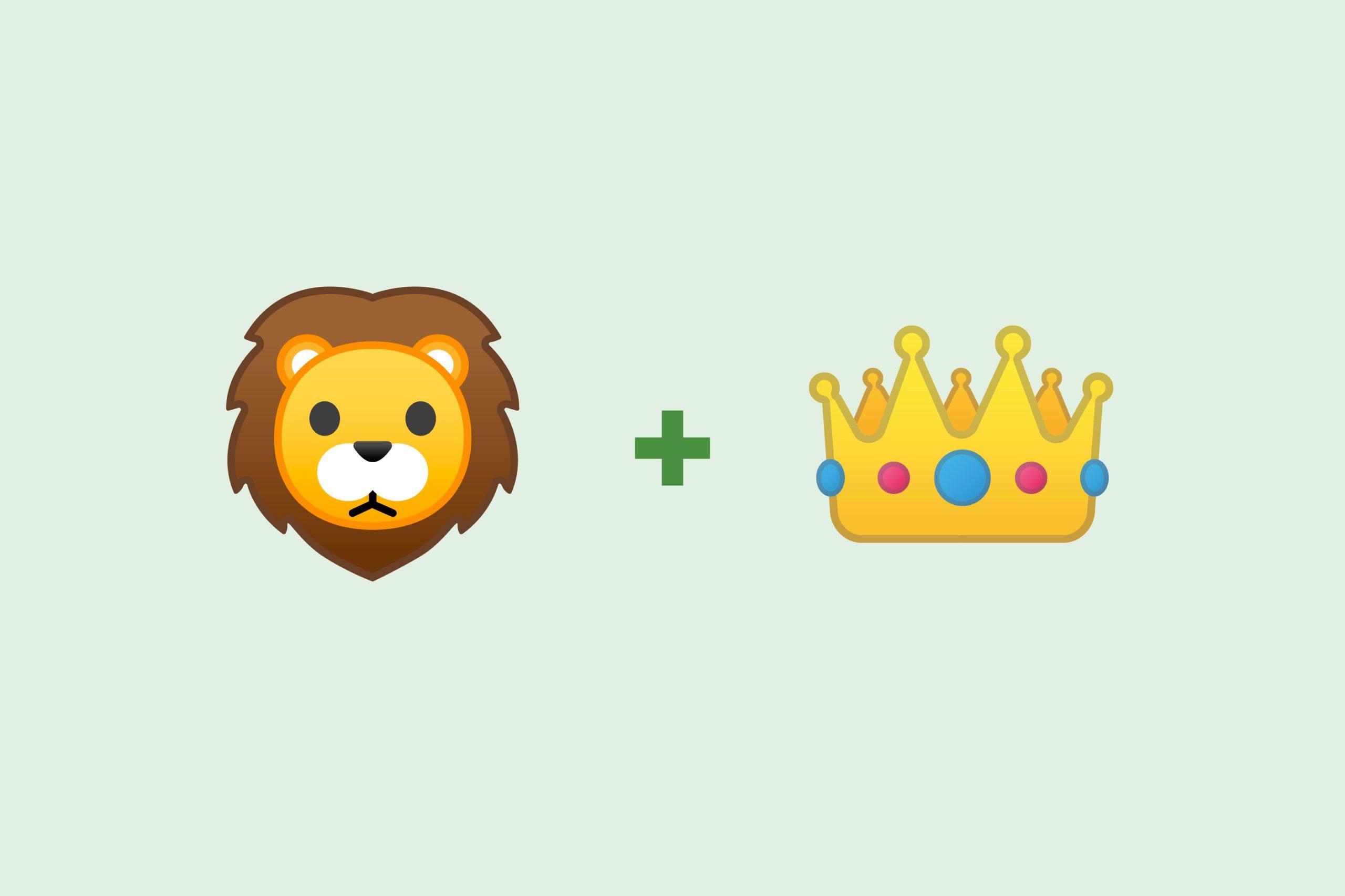 Lion emoji + crown emoji
