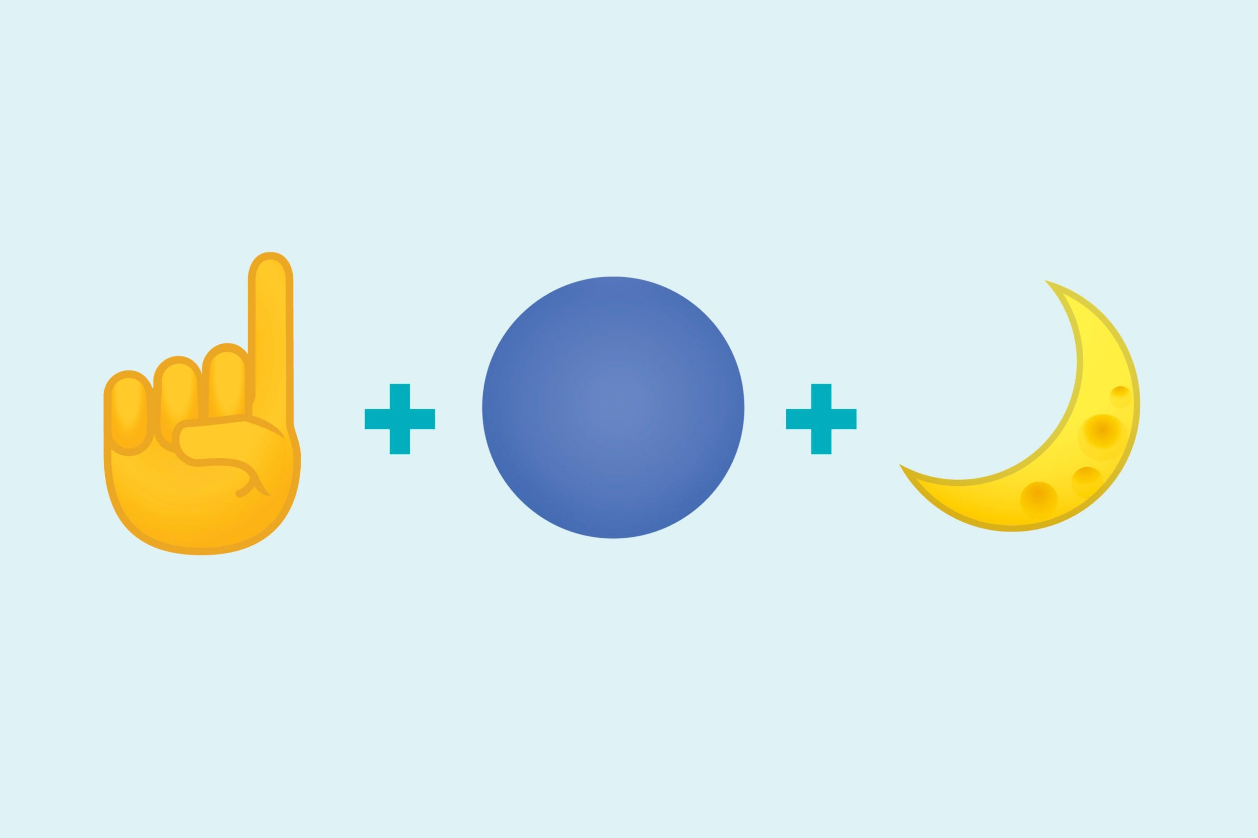 Finger holding up number one emoji + blue circle emoji + moon emoji