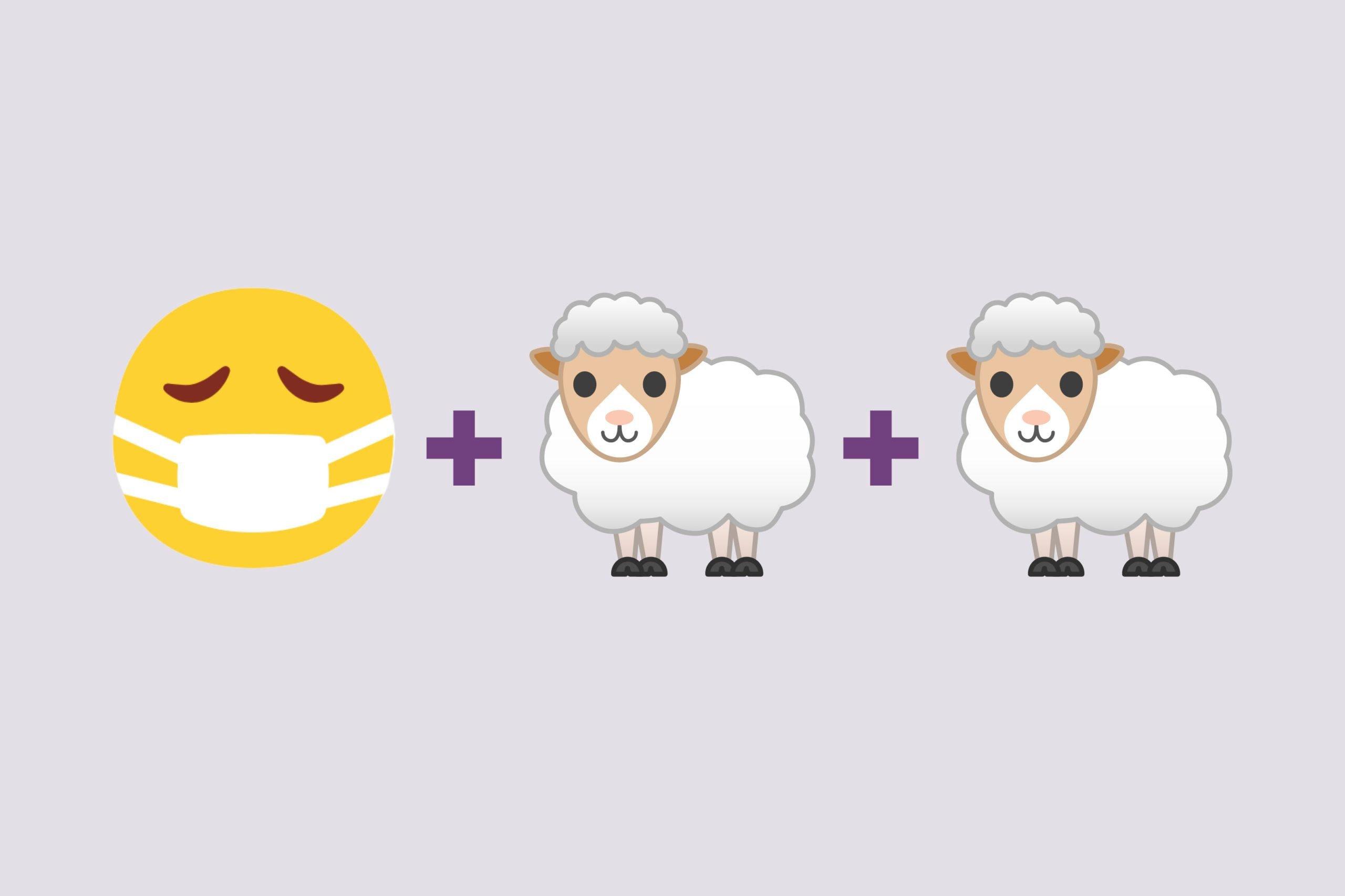 Face with mask emoji + two lamb emojis