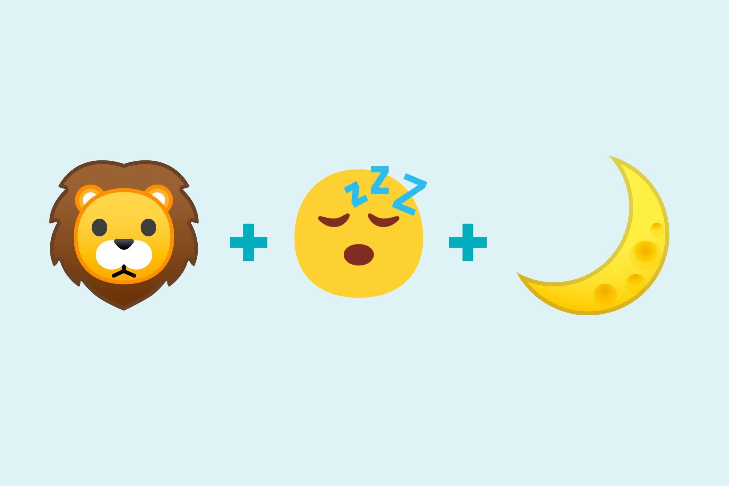 Lion emoji + sleeping emoji + night emoji