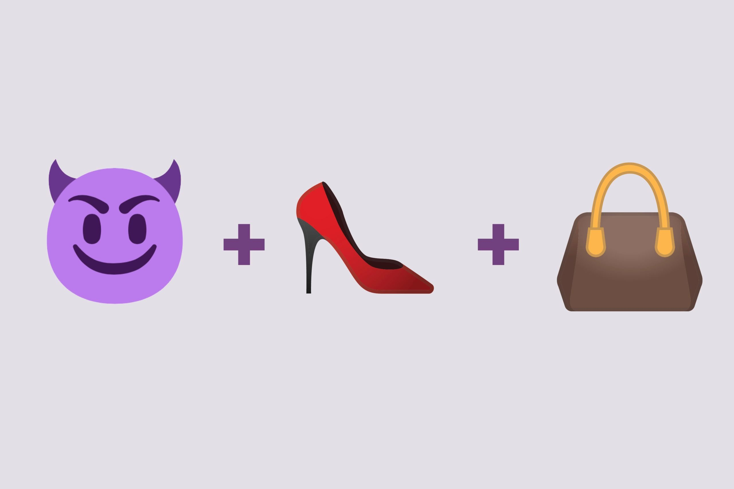 Devil emoji + high heel emoji + handbag emoji