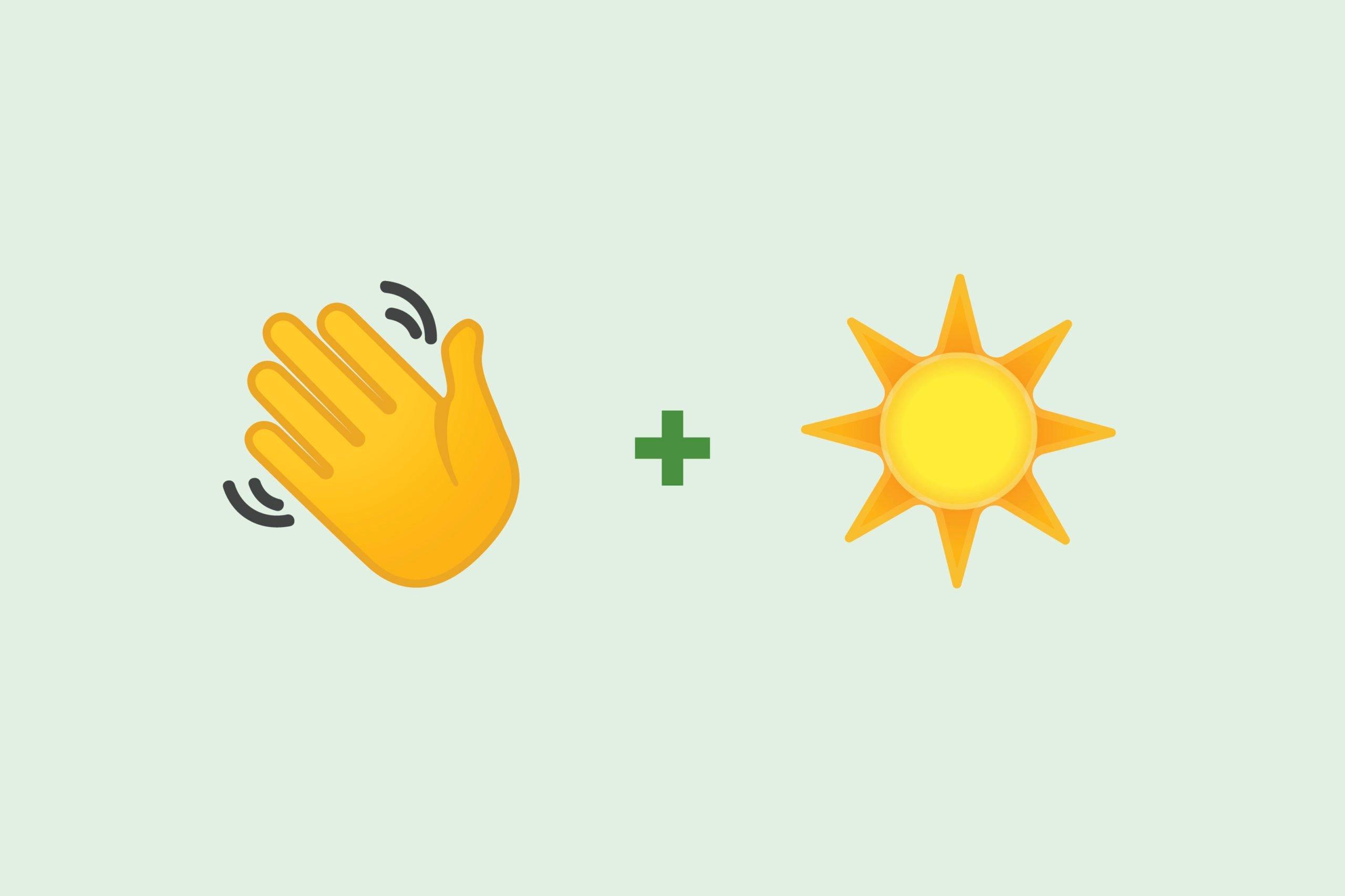 Waving emoji + sun emoji