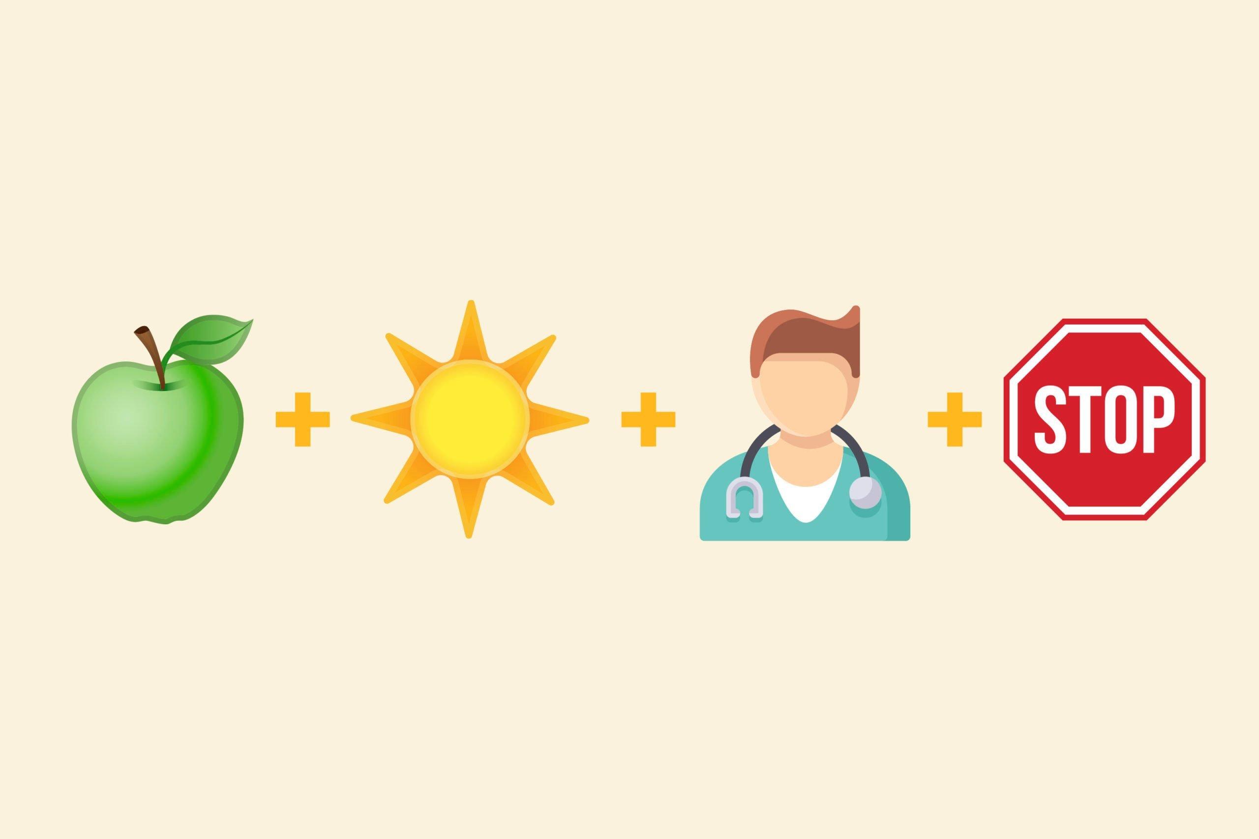 Apple emoji + daytime emoji + doctor emoji + stop emoji